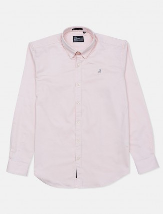 River Blue full sleeves pink solid casual shirt