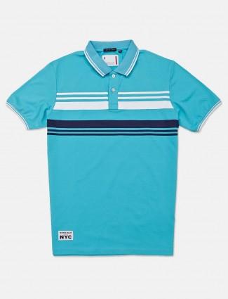 River Blue half sleeves aqua stripe t-shirt