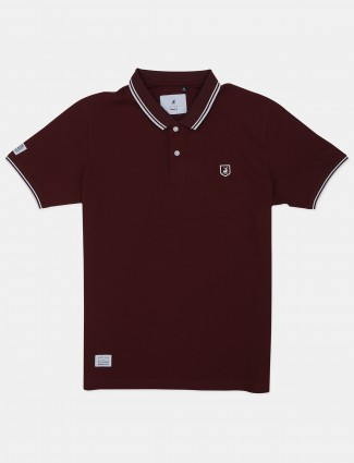 River Blue maroon printed casual polo t-shirt for men