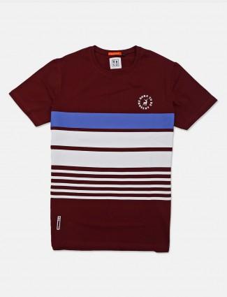 River Blue maroon stripe cotton t-shirt