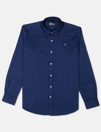 River Blue mens blue solid shirt