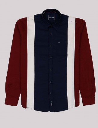 River Blue navy and maroon cotton casual shirt
