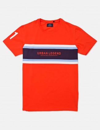 River Blue orange printed cotton t-shirt