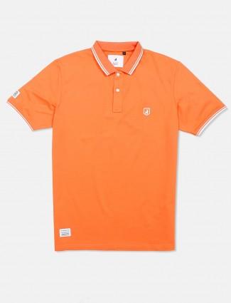 River Blue orange solid t-shirt