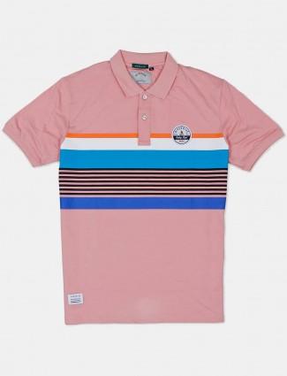 River Blue pink stripe mens t-shirt