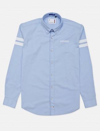 River Blue presented solid sky blue shirt