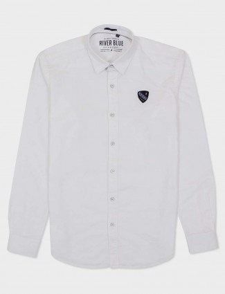 River Blue presented solid white shirt