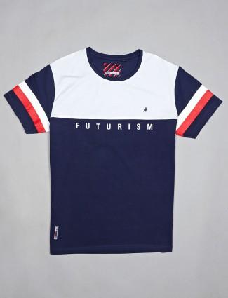 River Blue printed navy cotton t-shirt