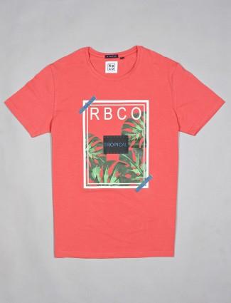 River Blue printed peach casual cotton t-shirt