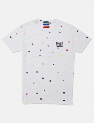 River Blue printed white slim fit t-shirt