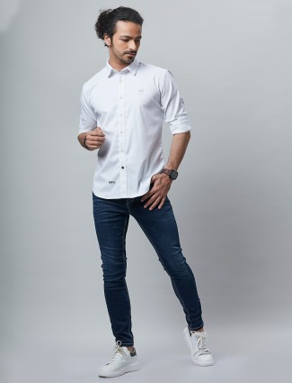 River Blue shirt in white cotton for casual wear