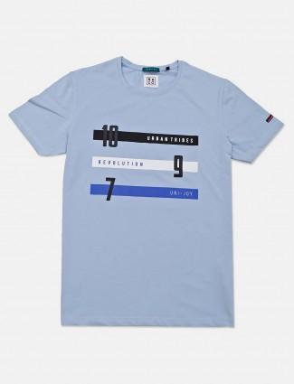 River Blue sky blue cotton mens t-shirt