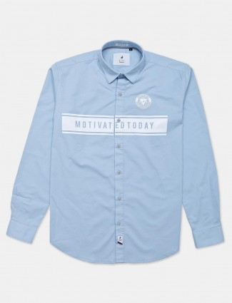 River Blue sky blue printed cotton mens shirt