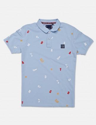 River Blue sky blue printed cotton t-shirt