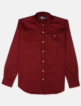 River Blue slim fit solid maroon shirt
