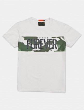 River Blue slim fit white printed t-shirt