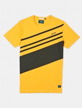 River Blue slim fit yellow stripe t-shirt