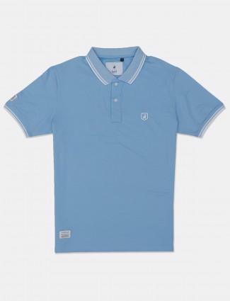 River blue solid blue cotton polo t-shirt