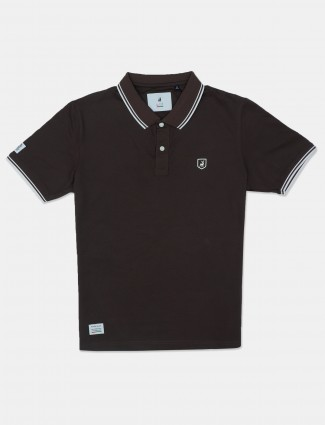 River Blue solid brown polo t-shirt