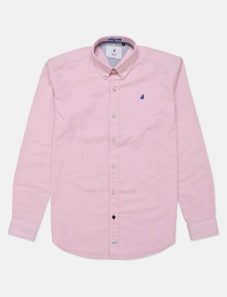 River Blue solid casual wear pink shirt