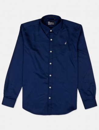 River Blue solid navy casual shirt
