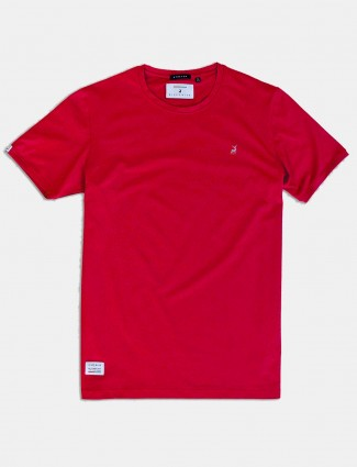 River Blue solid red cotton t-shirt
