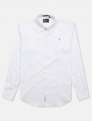 River blue solid white cotton shirt
