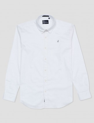 River Blue solid white slim collar shirt