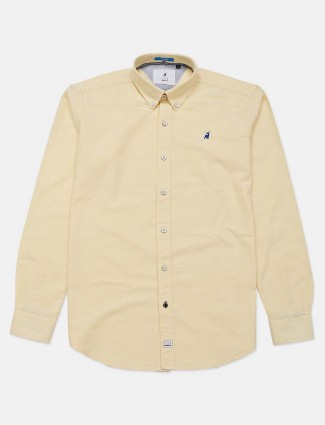River Blue solid yellow cotton shirt