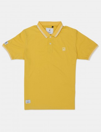 River Blue solid yellow half sleeves polo men t-shirt