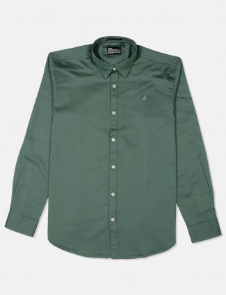 River Blue teal green solid full sleeves shirt