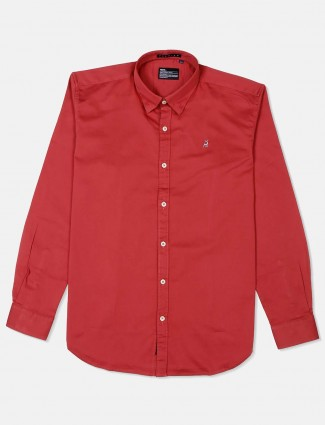 River Blue tomato red cotton solid shirt