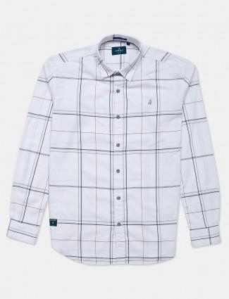 River Blue white checks cotton mens shirt