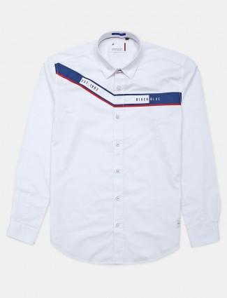 River Blue white cotton printed shirt
