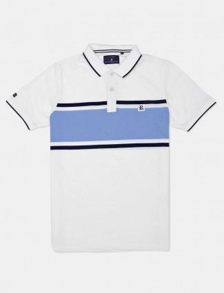 River Blue white solid cotton t-shirt