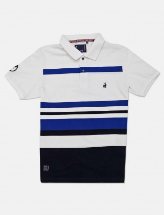 River Blue white stripe polo t-shirt