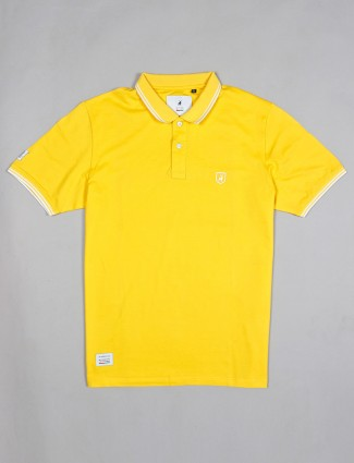 River Blue yellow solid cotton t-shirt