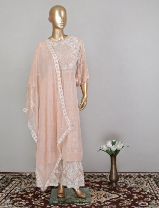 Rose pink palazzo suit with thread work details