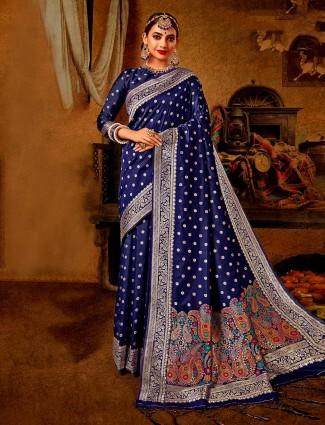 Royal blue banarasi silk saree for wedding