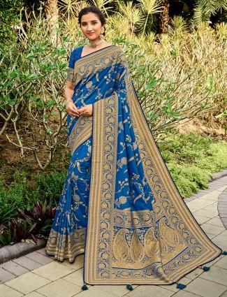 Royal blue banarasi silk saree for wedding days