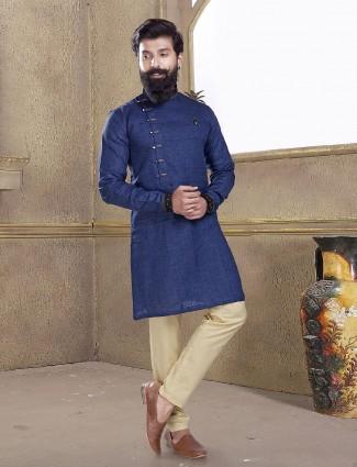 Royal blue cotton silk kurta suit