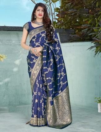 Royal blue festive wear banarasi silk saree