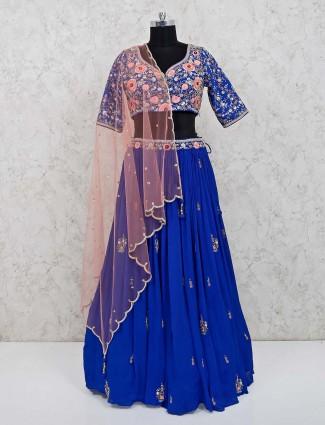 Royal blue georgette party wear lehenga choli