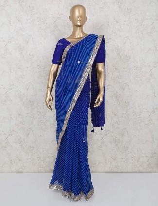 Royal blue leheriya georgette saree