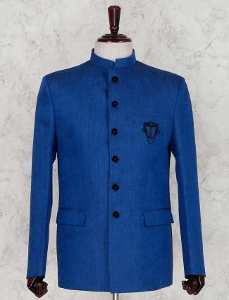 Royal blue linen solid party jodhpuri suit