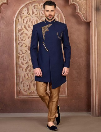 Royal blue solid party wear mens indo western