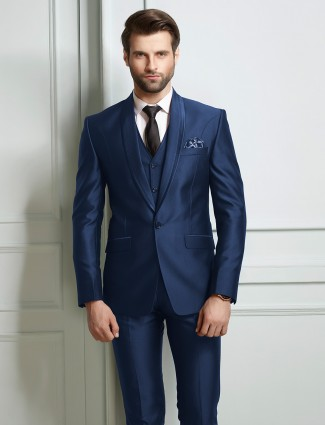 Royal blue solid terry rayon party wear coat suit