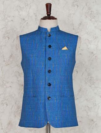 Royal blue solid terry rayon waistcoat