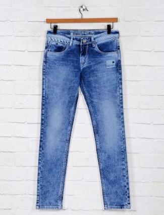 Royal blue washed denim jeans