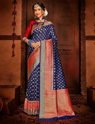 Royal blue wedding wear banarasi silk saree